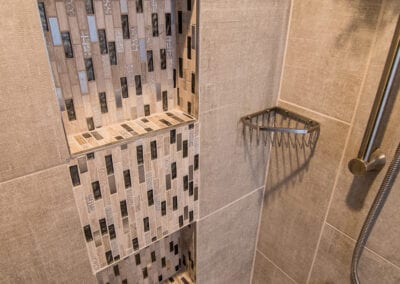 Gold Bathroom Design with Stuff to Keep
