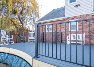 Black Wood with iron fenced Deck Modeling