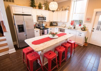 Red Wood Flooring with descent Kitchen Modules