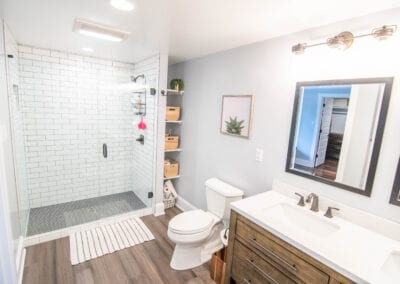 Shinny White with Wooden finishing Bathroom Modeling